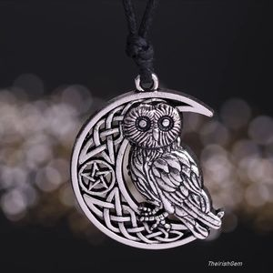 Silver Crescent Moon & Owl Necklace